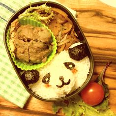 Panda bento.01 Rice with steam beef meatball and vegetables and glads noodle stir fry