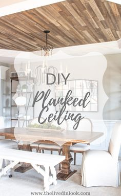 How to Create a Stunning Statement Ceiling This Gorgeous DIY rustic wood planked ceiling is so simple and stunning to create. Update your home Wood Plank Ceiling, Wood Ceilings, Wood On Ceiling Ideas, Wood Ceiling Panels, Wood Walls, Ceiling Beams, Diy Rustic Decor, Diy Home Decor, Rustic Wood