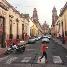 Cathedral and colonial streets of Morelia, Michoacan, Mexico