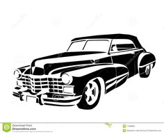 old time cars   Old classic vintage car drown in black on white.