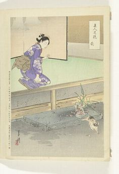 Orchidee  Ran (Japanse titel op object)  Vergelijkingen tussen schoonheden en bloemen (serietitel)  Bijin hana kurabe (Japanse serietitel op object)  Vervaardiger  naar ontwerp van: Ogata Gekko  (Tokyo 1859 - 1920) (vermeld op object)  plaats vervaardiging: Japan  prentmaker: anoniem  plaats vervaardiging: Japan  uitgever: Takekawa Risaburo (vermeld op object)  plaats vervaardiging: Japan  Datering  1896