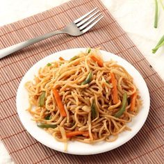 Veg Hakka Noodles - Indo Chinese style Vegetarian Hakka Noodles with Vegetables - Kid's Favorite Snack Food - Step by Step Photo Recipe