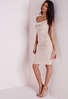 Missguided - Faux Suede Front Cowl Neck Midi Dress Nude