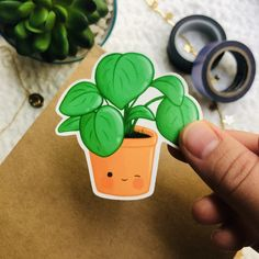 Kawaii Stickers, Cute Stickers, Plant Illustration, Digital Illustration, How To Make Stickers, Sticker Ideas, Etsy Business, Waterproof Stickers, Sticker Paper