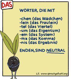 Confused about German word gender? Well, these endings = neutral (das) German Grammar, German Words, Learn German, Learn English, German Resources, Deutsch Language, German English, German Language Learning, Grammar Rules