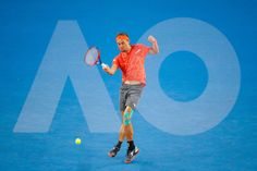 Image has been created using multiple exposures in camera) Alexandr Dolgopolov of Ukraine of Ukraine plays a forehand in his second round match against Matthew Ebden of Australia on day three of the 2018 Australian Open at Melbourne Park on January 17, 2018 in Melbourne, Australia.
