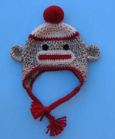 Sock Monkey Hat with Earflaps, Braids and Pompom or Flower by Shelley Tudor
