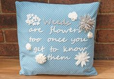 Felt Flower Pillow Decorative Cushion  with by WhileLokiDreams, £30.00