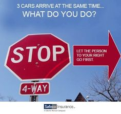 Who goes first at a stop sign if everyone arrives at the same time?