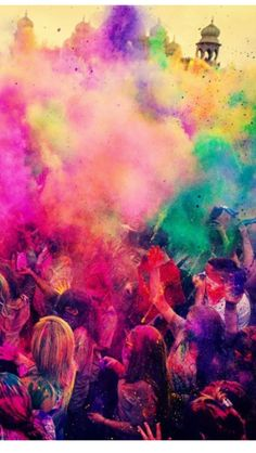 Holi festival of colour in India, it's on my bucket list to visit!