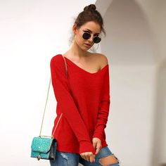 Red Soft V-neck Long Sleeved Loose sweater – Sampeel Loose Knit Sweaters, Pullover Sweaters, Wool Sweaters, Cardigans For Women, Women's Cardigans, White Long Sleeve, Long Sleeve Sweater, Types Of Sleeves, Casual
