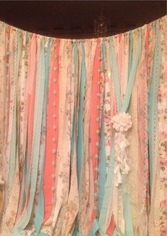 Mint Coral Aqua Rag Curtain Ribbon Garland Lace and Fabric x 7 foot long Curtains