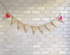 Engaged Hessian/Burlap Banner Engagement Party by ALovelyFete, $27.00