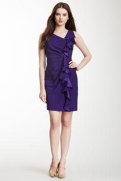 Laurent Cascading Ruffle Silk Cocktail Dress