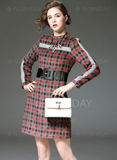 Dresses - $68.59 - Polyester Tartan Long Sleeve Above Knee Elegant Dresses (01955092742)