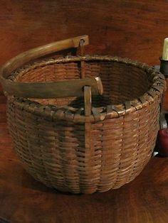 Antique 1800s RARE NE Black Ash Shaker Woven Splint Swing Handle Basket AAFA | eBay $875.00