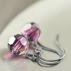 Amethyst jewelry Purple earrings in Swarovski by southpawstudios