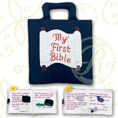 My First Bible in blue is a beautifully made fabric playbook that introduces children to the bible in a soft, hands on way. Embroidered cover and soft fabric pieces that come on and off with velcro including the sky, the sun, the ocean, fish, Adam and Eve.  A gift to treasure. 13 Silk Screened pages. Pink version also available for girls at www.nobleniches.com. #nobleniches #firstbible #childrensbible #adamandeve #babygift #Eastergift #Eastertoy #Easterbook #homestylesgallery