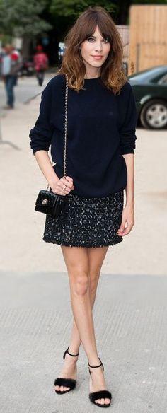jumper, mini-skirt (sandals)