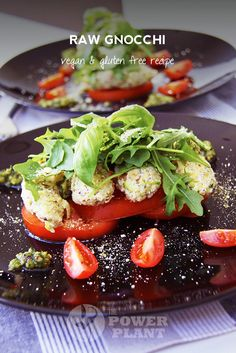 Raw gnocchi vegan gluten free recipe | The Power Plant   pesto tomato nuts vegan parmesan