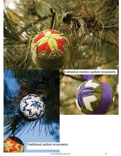 Traditional, Cathedral Window, and Picture Window Quilted Fabric Ball Ornaments Pattern and Tutorial (3 tutorials). $12.00, via Etsy.