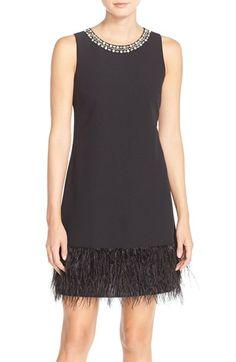 Vince Camuto Embellished Feather Fringe Crepe A-Line Dress available at #Nordstrom