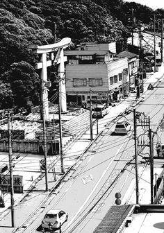 気 amazing line drawing showing light on a City road in Japan