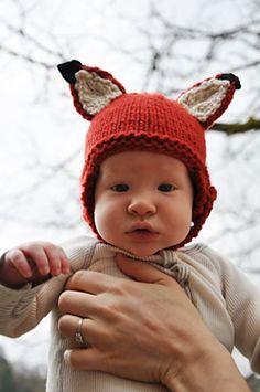 woodland fox baby hat, free pattern by Kristen Cooper