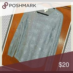 💎Sparkly Gray sequin sweater💎 Showcase your starry night style in the high-shine embellishment of this sequined sweater for a look that shimmers from day to night.✈🎁 St. John's Bay Sweaters Crew & Scoop Necks