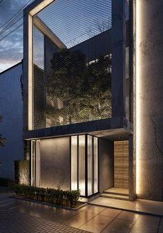 27 New Ideas facade lighting design architecture modern houses Villa Architecture, Cabinet D Architecture, Light Architecture, Entrance Lighting, Facade Lighting, Exterior Lighting, Facade Design, Exterior Design, House Design