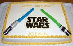 Star Wars cake for a friend's little boy. The light sabers are all MMF and - Star Wars Cake - Ideas of Star Wars Cake - Star Wars cake for a friend's little boy. The light sabers are all MMF and the Star Wars logo is FBCT. Star Wars Birthday Cake, Star Wars Party, Birthday Cakes, Boy Birthday Parties, Birthday Fun, Birthday Ideas, Birthday Celebrations, Star Wars Cake Toppers, Starwars