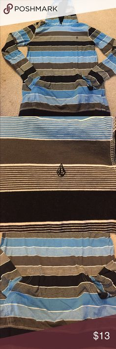 Volcom Hoodie Selling a hoodie from Volcom in black, blue, and charcoal, stripes. Front pocket for hands. Gently used- no stains or damage. Volcom Shirts & Tops Sweatshirts & Hoodies