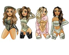 Little Mix fan art Little Mix Outfits, Little Mix Girls, Touch Little Mix, Jesy Nelson, Perrie Edwards, Foto Rap Monster Bts, Litte Mix, Bff Drawings, Celebrity Drawings