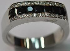 14kt White Gold Black & White Diamond Mens Ring