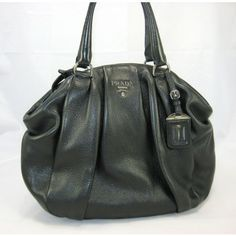 Prada Black Cervo Antik Leather Bowler Handbag | Portero Luxury