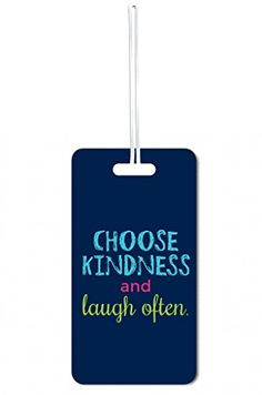 Luggage Tags Collections | Choose Kindness And Laugh Often Lea Elliot Set of 5 Luggage Tags with Customizable Back ** Check out the image by visiting the link. Note:It is Affiliate Link to Amazon.