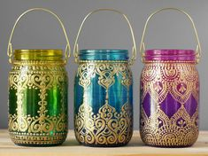 Trio of Bohemian Hanging Lanterns- Mason Jar Candle Holders with Ombre Tinted Glass and Hand Painted Gold Detailing