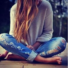 sweater and cuffed jeans