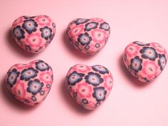6 Fimo Polymer Clay Flower Fimo Beads 20mm Heart Pink Multicolor flowers  heart 20mm. $4.99, via Etsy.
