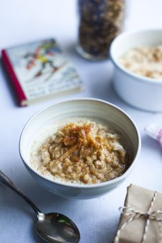 """The secret to this delicious porridge is to steep the porridge oats in the milk in the fridge, as leaving them overnight makes them lovely a..."""