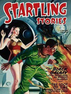 Vintage Sci Fi Poster Startling Stories Black Galaxy