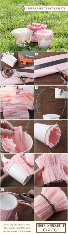 Tutorial: Papel Crepe cestas Treat