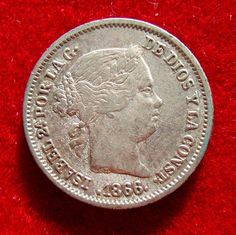 Spanje - Isabel II (1833-1868) zilveren munten van 10 cent van escudo (140 g 15 mm) - bedacht bij de munt van Madrid 1866.  Spanje - Isabel II (1833-1868) zilveren munten van 10 cent van escudo (140 g 15 mm) - bedacht bij de munt van Madrid 1866.In zeer goede staat met een schat aan details. Aantrekkelijke buste van de koningin met haar haren verscholen in de achterkant van haar nek.140 g 153 mm. 900/1000 zilverNeem een kijkje op de foto's om een betere indruk te krijgen.5435  EUR 8.00  Meer…