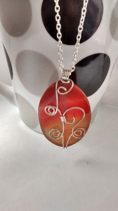 Orange Wire Wrapped Pendant Necklace  Red by CharmingTreasures2, $20.00 Washer Necklace, Pendant Necklace, Wire Wrapped Pendant, Wire Wrapping, Necklaces, Orange, Silver, Red, Jewelry