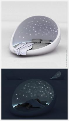Cosmos bed made from glass fiber, looks like open egg shell. Built in sound system, and fragrance release. Colorful LED lamps look like stars, can be adjusted according to mood.