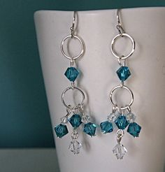 Blue Swarovski Crystal Earrings  Dangle Earrings  by BirdieAndDot, $12.00