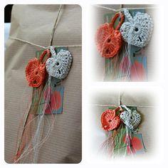 Geschenkband - romantische Herzgeschenkanhänger aus Leinengarn - ein Designerstück von Taschenatelier bei DaWanda