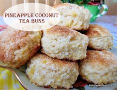 Pineapple Coconut Tea Buns are a Newfoundland favourite. Fragrant with coconut and sweet with pineapple, these buns make a great snack or lunchbox treat. Coconut Buns, Coconut Tea, Coconut Biscuits, Tea Biscuits, Pineapple Coconut Bread, Rhubarb Bread Pudding, Rhubarb And Custard, My Recipes, Cake Recipes