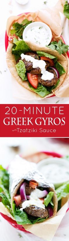 20 Minute Greek Gyros with Tzatziki Sauce - A GREEK classic turned into a QUICK + EASY Weeknight dinner! #gyros #greekgryos #chickengryos | Littlespicejar.com
