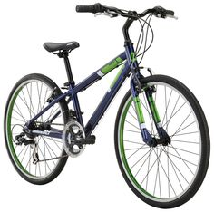"""Diamondback Bicycles Insight 24 Kid's Hybrid Bike, 24"""" Wheels, Blue. Alloy frame with replaceable derailleur hanger for durability. Aero alloy straight blade fork for solid steering. Linear pull brakes provide safe stopping power. Shimano 14-speed drivetrain gives wide range of gears. 24 inch youth sized wheels roll Quick and smooth on pavement."""
